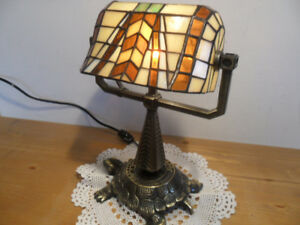 TIFFANY  SOLID  BRASS  TURTLE  BANKERS  LAMP  416-483-1730
