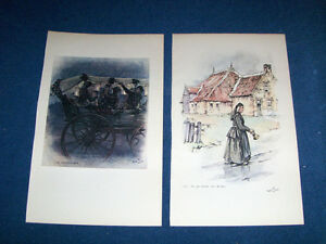 OLD LADY & BELL-2 FULL PAGE COLOR PRINTS-ANTON PIECK-ARTIST