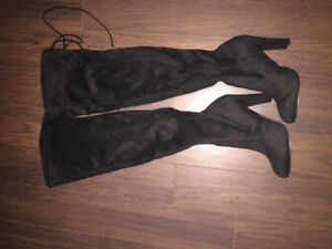 NEW BLACK SUEDE STRETCHY THIGH HIGH BOOTS JOURNEY SHOES 8.5