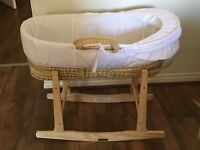 Brand new Moses basket with rocker stand and 4 fitted sheets - like new