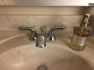 Set of three bathroom sink faucets