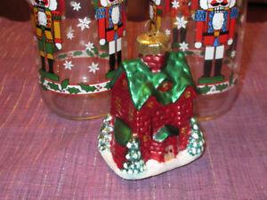Gorgeous Blown Glass Christmas House Ornament - NIB