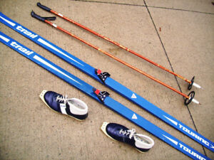 Two (2) Complete X Country Sets, Skis, Poles & Boots for $75.00