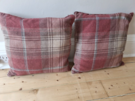 2 Next Red Check Cushions