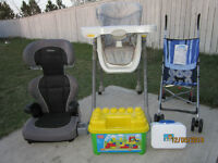 Adjustable High Chair + Booster Seat + Stroller + 2 Toys = $50.