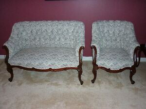 Love Seat and Chair - Queen Anne - Two-Piece Antique Settee