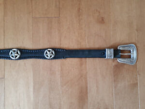 MENS Black Leather Western BELT with CONCHOS