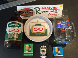 Quelques objects de collection sur Labatt 50.