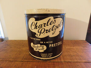 Vintage Big Charles Pretzels Tin with Lid