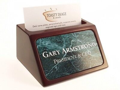 Personalized Business Card Holder For Desk With Green Marble Look Insert