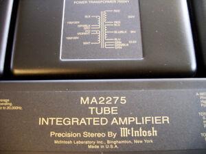 McIntosh MA2275 TUBE INTEGRATED AMPLIFIER