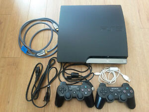 PS3 Slim (250 GB) with two controllers and seven games