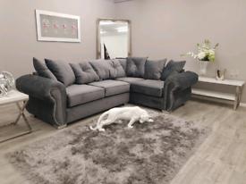 NEW Grey Velvet Right or Left Corner or 3 + 2 seater Suite DELIVERY AV