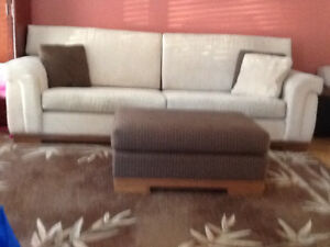 Beige Microfibre Couch (4 places)/ Loveseat (3 places)