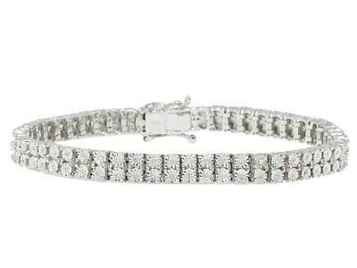 Double Row Genuine Diamond Bezel Bracelet in White Gold Finish - 7.5 inch