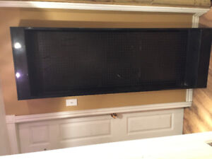 2 black metal cabinets with peg board backing $50 each!