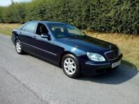 2003 MERCEDES-BENZ S350 3.7 V6 AUTO LWB, BLUE, BLACK LEATHER, FSH, LOW OWNERS