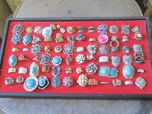BUNCH OF OLD 1960s to 1980s COSTUME JEWELERY RINGS $10 EA.