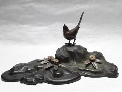 Japanese  Bronze Okimono of a Bird at waters edge