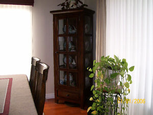 Heavy Solid Wood and Glass Curio / China / Display Cabinet