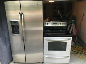 GE stainless steel appliances fridge stove set combo 4 kitchen