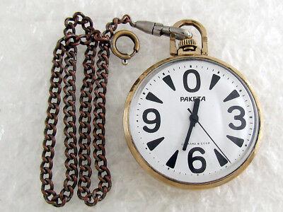 Raketa Big Zero CALIBER 2609NA Vintage USSR Russian Mens Gold Pocket Watch