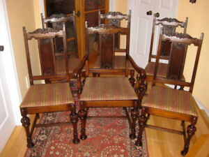Six Antique Upholstered Solid Walnut Dining Chairs, A1