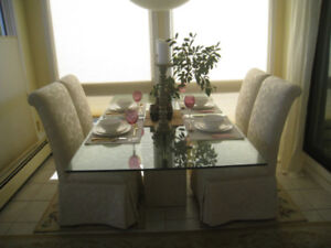 GLASS AND MARBLE DINING TABLE - STUNNING!  Retailed @$1595