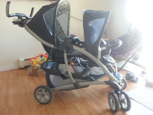 Graco double stroller with matching car seat