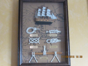 Maritime knots theme wooden picture