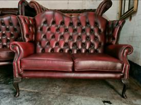 Thomas Lloyd Oxblood Queen Anne Chesterfield Sofa