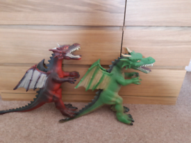 Toy Dragons Red and Green rubber