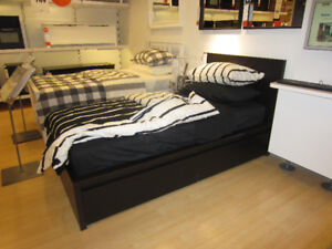 IKEA MALM DOUBLE BLACK-BROWN BED with IKEA MORGEDAL MATTRESS