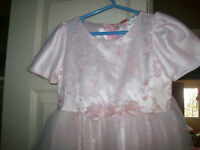 2 Flower girl dresses.  1 sz. 6 pink the other size 3 white silk