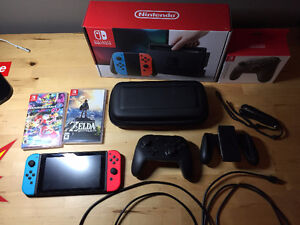 Nintendo Switch (used, like new) + pro controller + 2 games!
