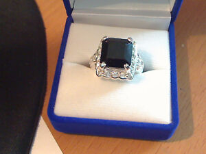 9.50 carat black spinal and white topaz ring