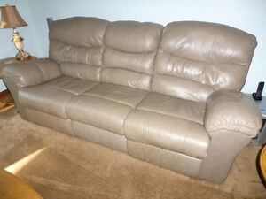 Recliner leather couch & love seat