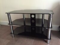 TV stand Chrome Black Glass