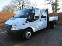 FORD TRANSIT 350 DOUBLECAB ONE WAY TIPPER LWB 125 BHP ONE STOP 6 SEATS