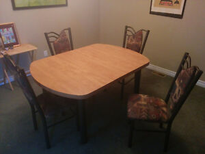 Indestructible 5-Foot Dinner Table Set with Four Chairs & Leaf