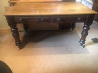 Solid Oak Chunky Farmhouse Table with Drawers - CAN DELIVER