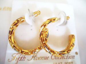 Gold & Silver Chain Twist Hoop Earrings - New
