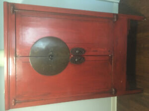 Red antique cabinet