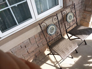 Pair of cast iron and stone foldable patio chairs (Very sturdy)
