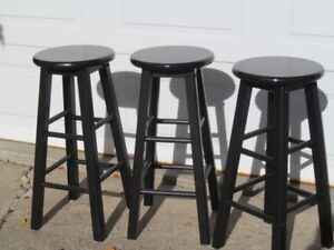 SOLID WOOD BAR STOOLS SET OF 3  28 inches tall