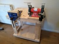 Sturdy Bench, Grinder with Lathe Tool Chisel Sharpening Jig & Record Wood Vice