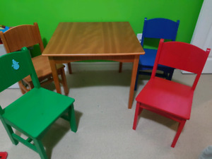 Children's table and 4 chair set