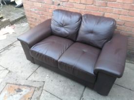 Brown 2 seater faux leather sofa FREE DELIVERY