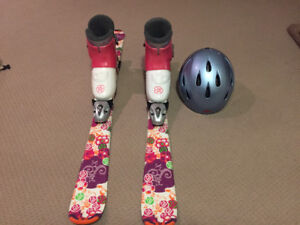 Kids skis boots and helmet