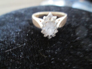 Diamond Cluster Ring-Main Diamond .35 ct Marquise Cut